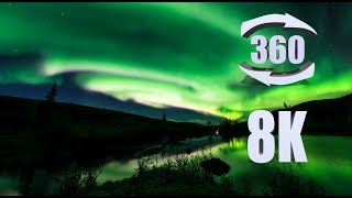 8K 360 video of the Aurora Borealis over Alaska's Chantanika River thumbnail