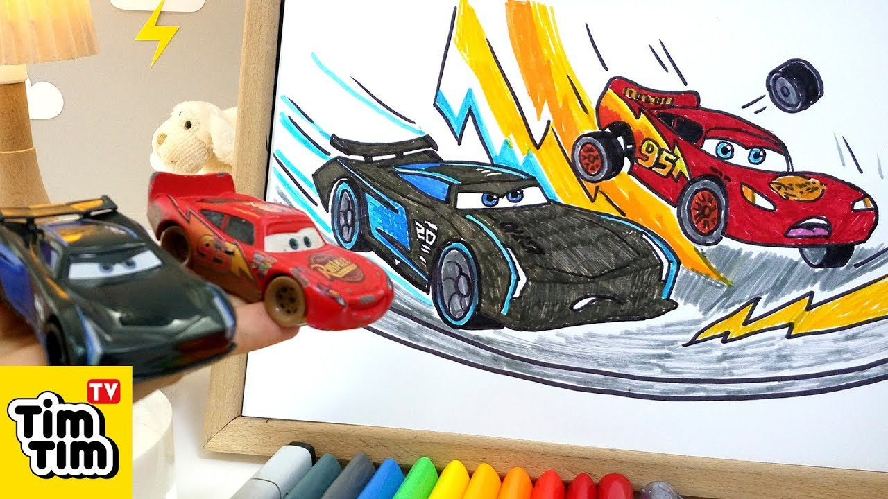 How To Draw Cars 3 Jackson Storm Vs Lightning Mcqueen Easy Step