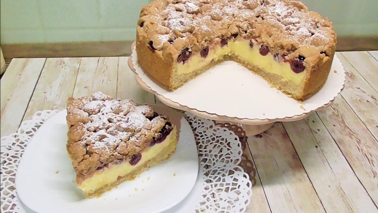 Kirschkuchen Mit Streuseln Und Puddingkreme Youtube
