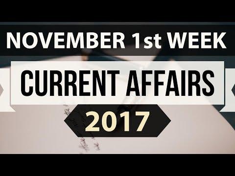 (English) November 2017 current affairs MCQ 1st Week Part 1 - IBPS PO / SSC CGL / UPSC / RBI Grade B