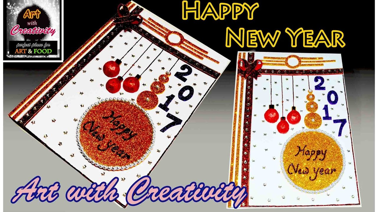 how to make happy new year card super easy for children art with creativity 113 youtube