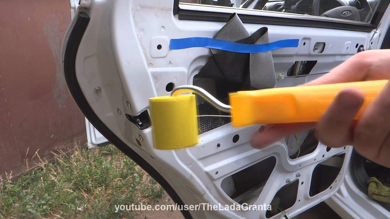 Lada Granta - шумоизоляция задних дверей.