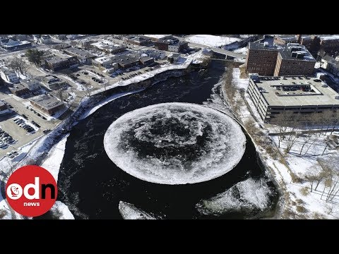 Mesmerising! Massive rotating ice disk forms in Maine river
