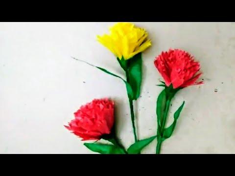 How to make easy paper flower# carnation # diy crepe paper craft😎