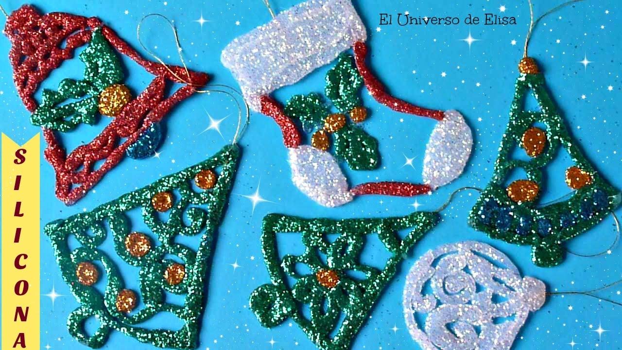 Adornos navide os para el rbol de navidad con silicona - Arbol de navidad adornos ...