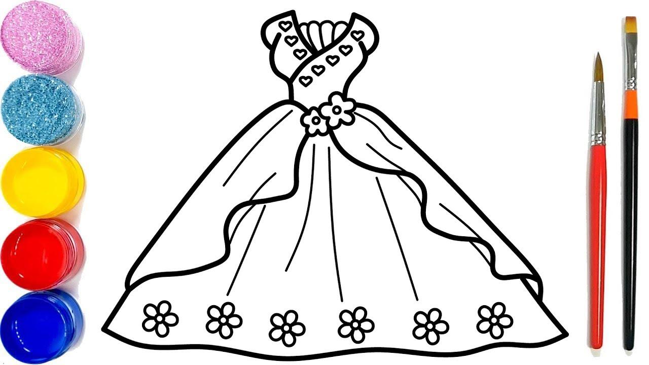 Vẽ váy công chúa đơn giản và tô màu cho bé | Dạy bé vẽ | Dạy bé tô màu | Gaun Putri Halaman Mewarnai
