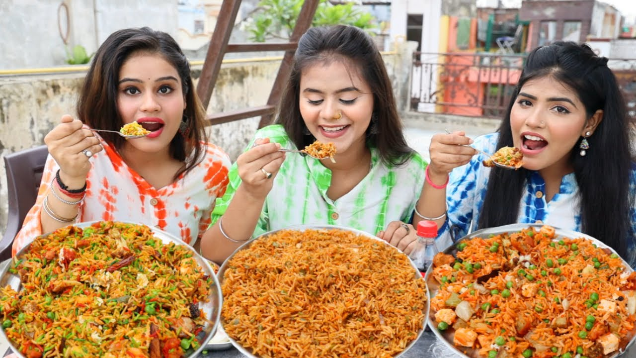 Fried rice, Biryani and Kashmiri Pulao Eating Challenge   Eating Competition   Food Challenge