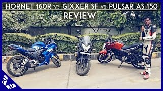 Honda Hornet 160R Vs Suzuki Gixxer SF Vs Bajaj Pulsar AS150 Comparison | Review | RWR