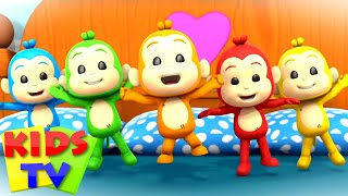 Five Little Monkeys Jumping on the Bed | Junior Squad Cartoons | Nursery Rhymes & Songs for Babies