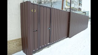 видео Откатные ворота с калиткой