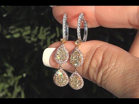 Fancy Pink, Fancy Yellow & F-G Color Diamond Dangle Earrings 14k Gold GIA Certified 1.82 TCW - C1096