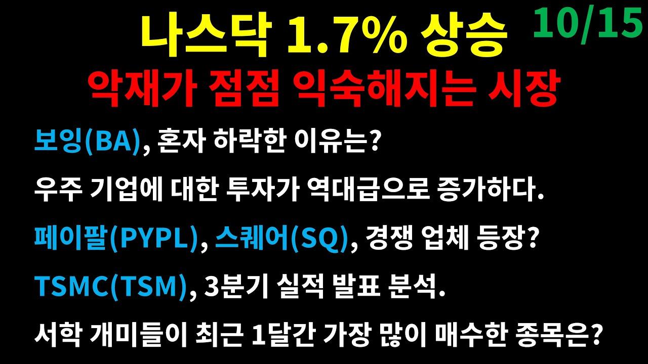 나스닥 1.7% 상승. 악재가 점점 익숙해지는 시장/보잉(BA) 혼자 하락한 이유/페이팔(PYPL), 스퀘어(SQ) 경쟁 업체 등장/TSMC(TSM) 3분기 실적 발표