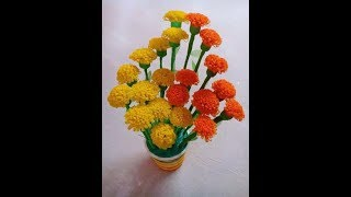 How to make Marigold flower from Shopping Bag || Shopping bag flower || Best Out of Waste Idea