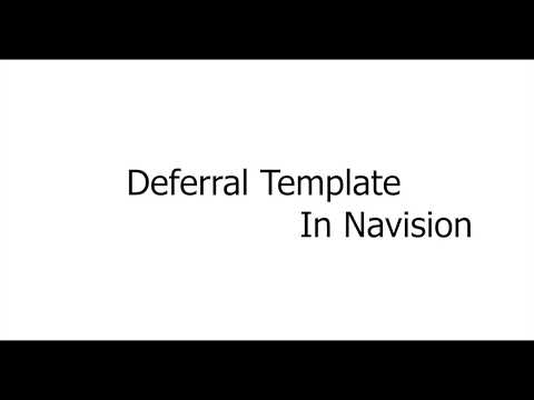 Deferral Template In Navision