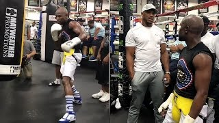 MAYWEATHER BACK IN THE GYM WITH ANTHONY JOSHUA! DISPLAYS SHOT GUN LIKE JAB!