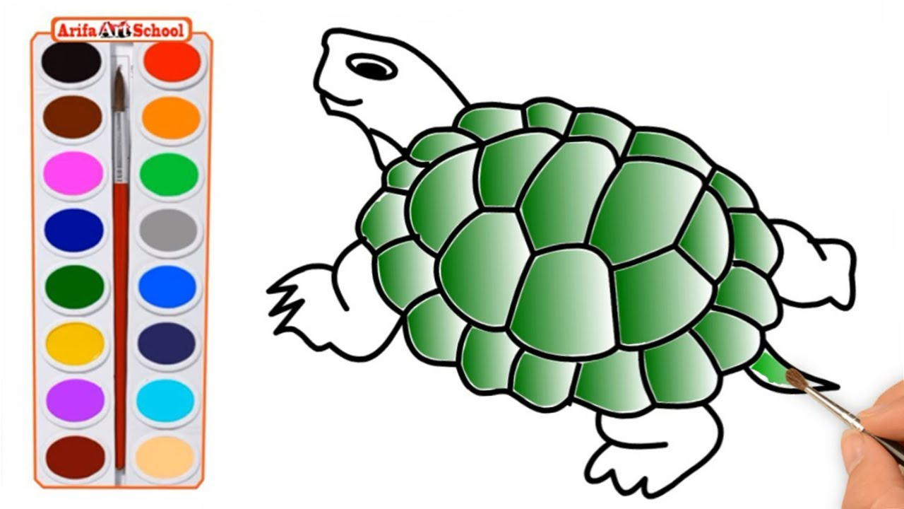 How To Draw A Realistic Sea Turtle. Step by Step Drawing. Turtle ...