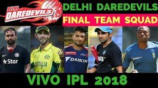 IPL 2018: Delhi Daredevils Final Squad    Delhi Daredevils All Players List After Auction 2018