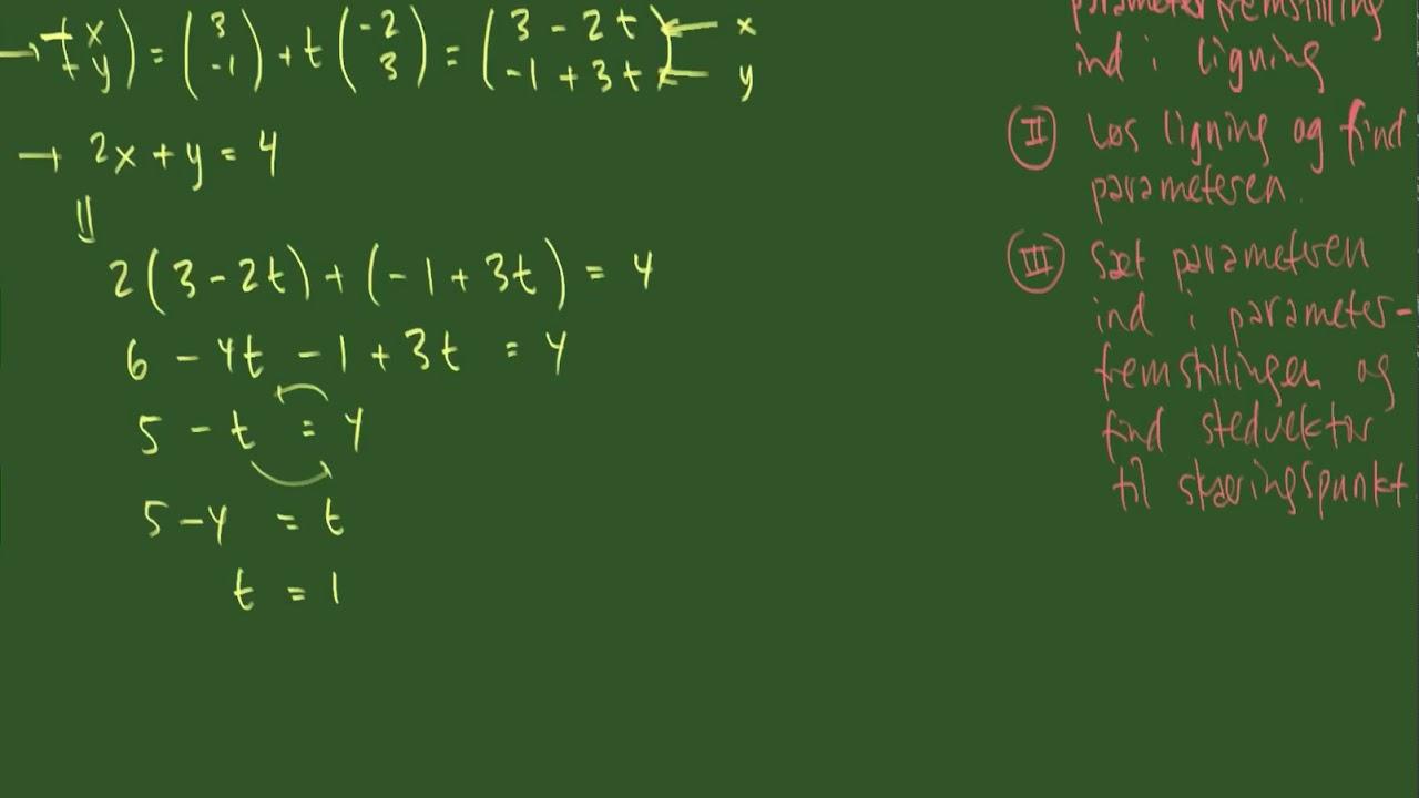 Skæring mellem to linjer defineret ved en ligning og en parameterfremstilling