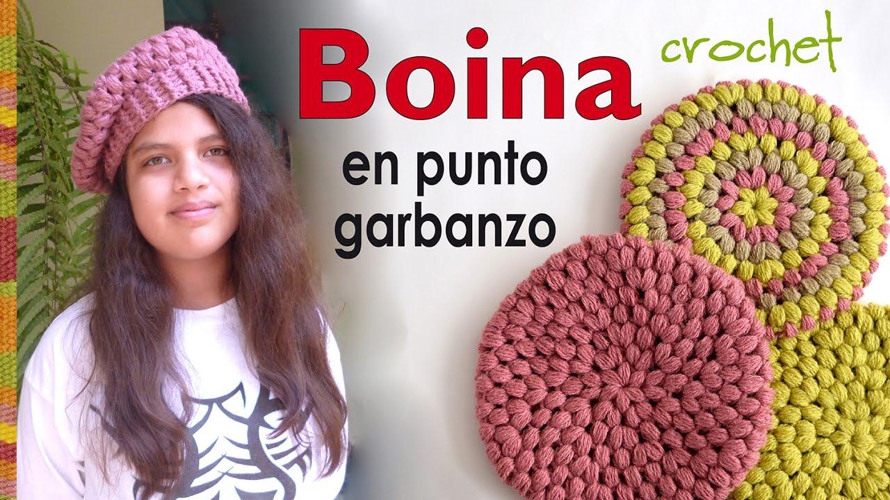 26d6e3022a962 Boina en punto garbanzo o puff tejida a crochet - Crochet puff ...