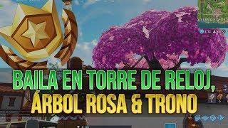 Fortnite | Baila en torre de reloj, un árbol rosa y un trono | Desafíos de Temporada 6 | Semana 4