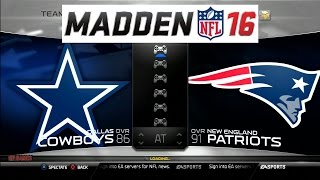 Madden NFL 16 Cowboys Vs Patriots Gameplay PS3 HD
