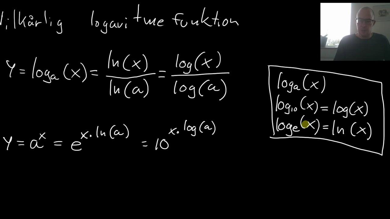 Vilkårligt grundtal for logaritme og eksponentialfunktion