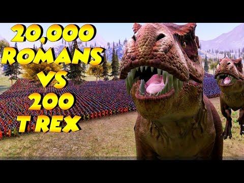 20,000 Romans vs 200 T Rex | 30,000 Heavy Knights vs 500 T Rex | Ultimate Epic Battle Simulator UEBS