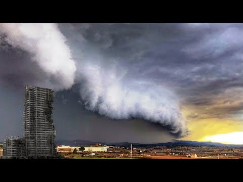 Strong STORM Winds Destroyed buildings in Mallorca and Catalonia, Spain. Natural Disasters. Weather