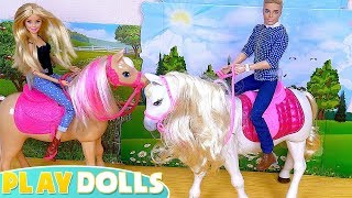Barbie Doll and Ken Horse Riding Adventure with Baby Doll Chelsea!