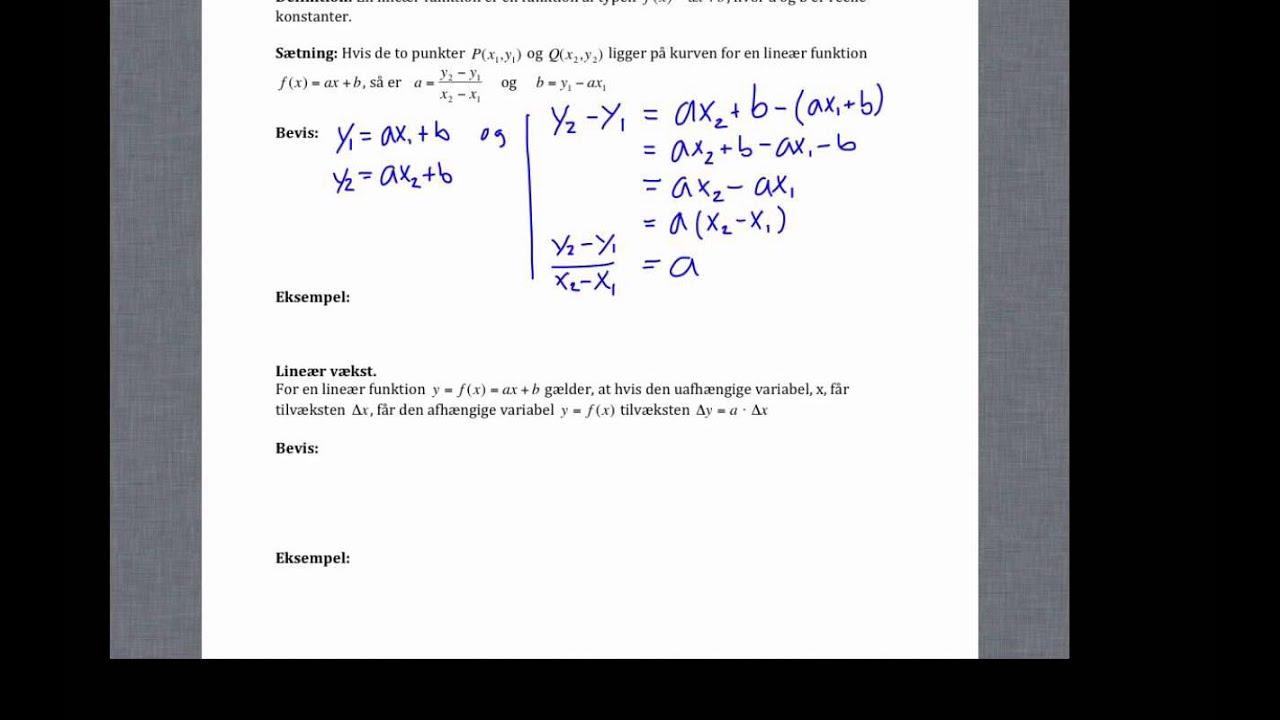 bevis lineær funktion
