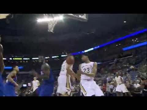 Anthony Davis Climbs High for the Alley-Oop Throw Down