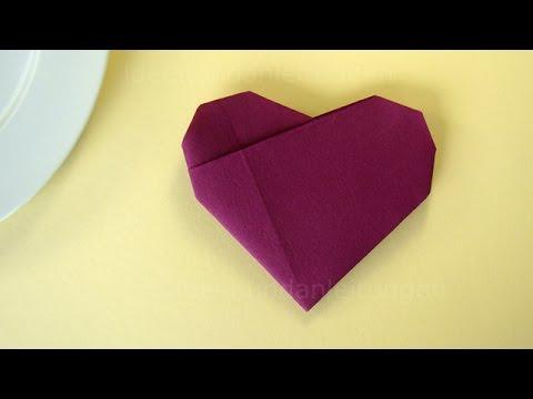 servietten falten herz einfache tischdeko f r hochzeit geburtstag selber machen youtube. Black Bedroom Furniture Sets. Home Design Ideas