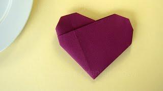 Repeat youtube video Servietten falten Herz - Einfache Tischdeko für Hochzeit & Geburtstag selber machen