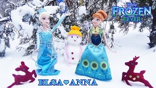 Disney Frozen Anna and Elsa Doll / Холодне торжество, ляльки Ганна і Ельза. Огляд і мультфільм