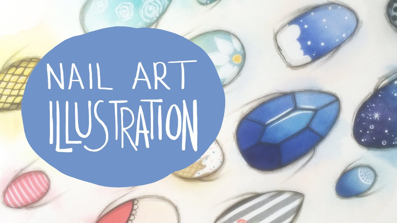 nail art watercolor illustration