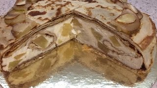 Диетический блинный торт с рикоттой и грушей. Dietary pancake with ricotta and pear. Фитнес торт.