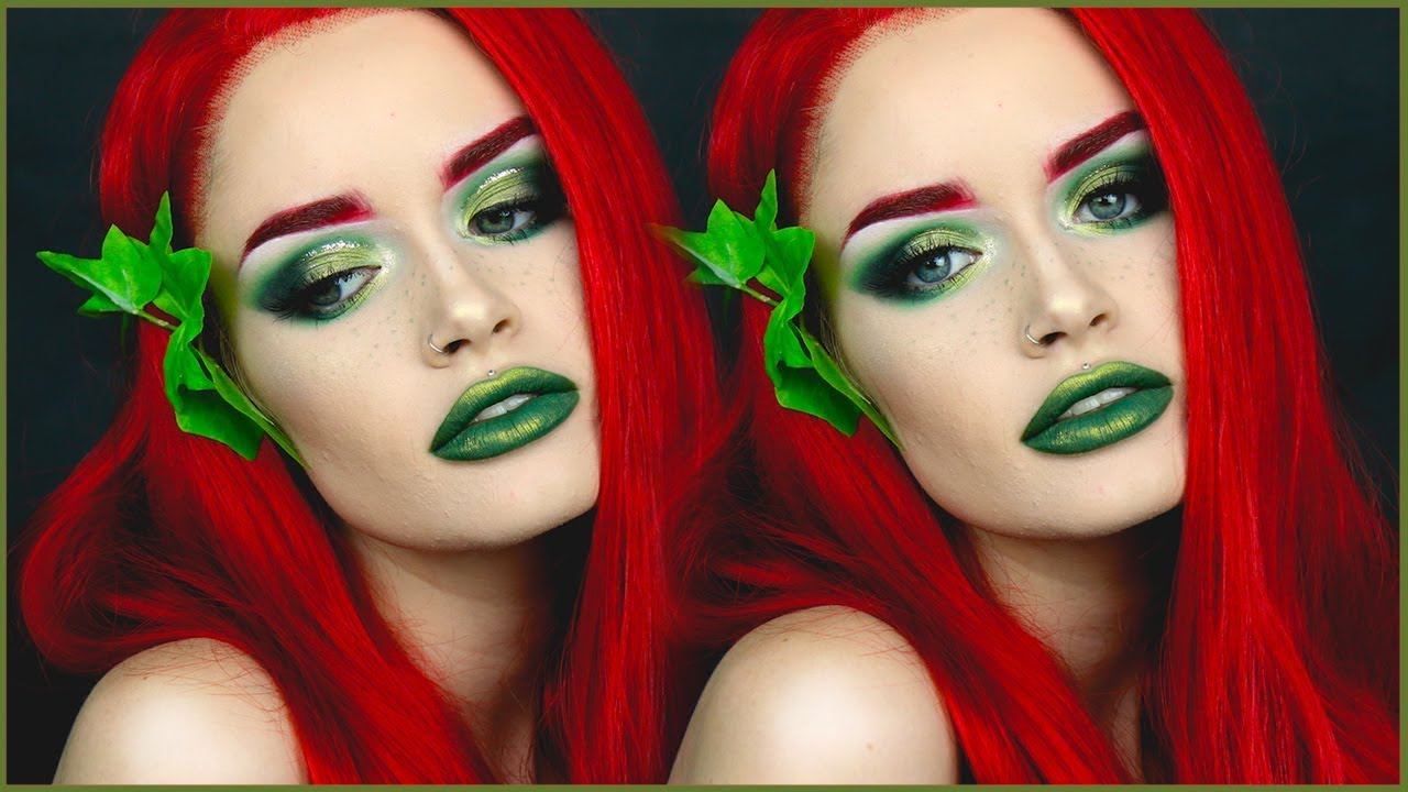 glam poison ivy halloween makeup ashtoberfest day 2031 atleeeey