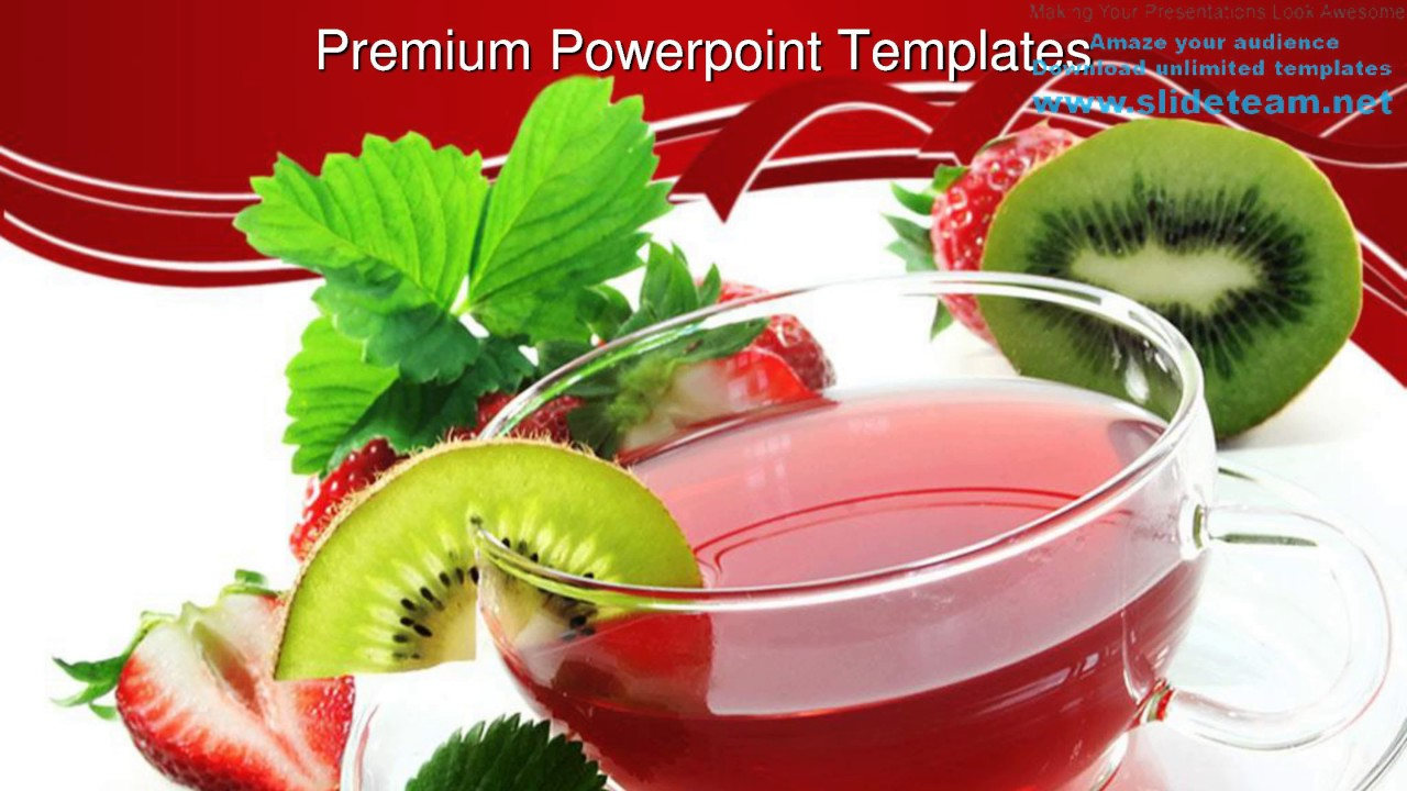 Strawberry Kiwi Tea For Health Food Powerpoint Templates Themes And