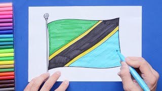 How to draw and color National Flag of Tanzania