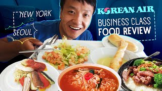 Korean Airlines BUSINESS CLASS FOOD REVIEW New York to Seoul | What You NEED to Know!