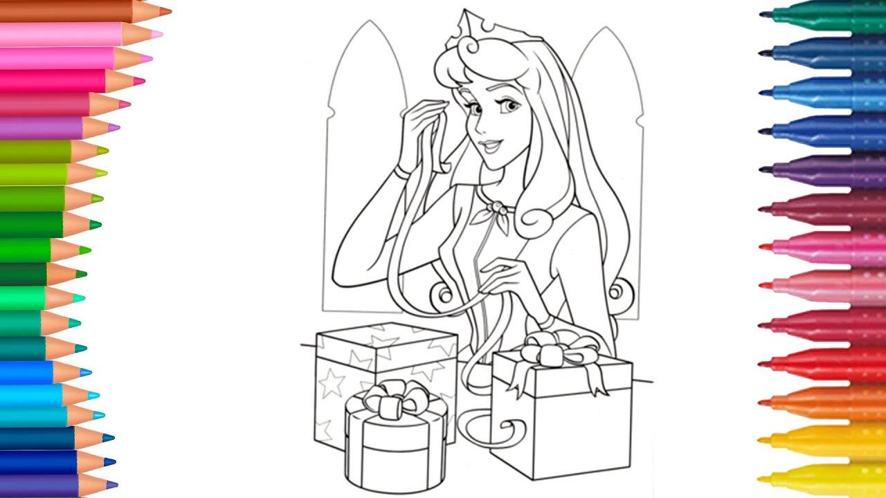Dibujar Y Colorea Princesa Aurora De Navidad Dibujos Para Niños Aprender Colores