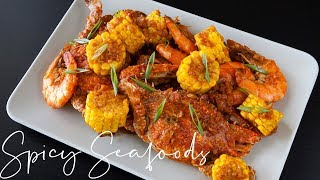 Spicy Prawn and Crab w/ Red Garlic Butter Sauce | The Dancing Crab