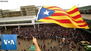 Thousands Protest Against Sentence of Catalan Separatist Leaders in Barcelona, Spain