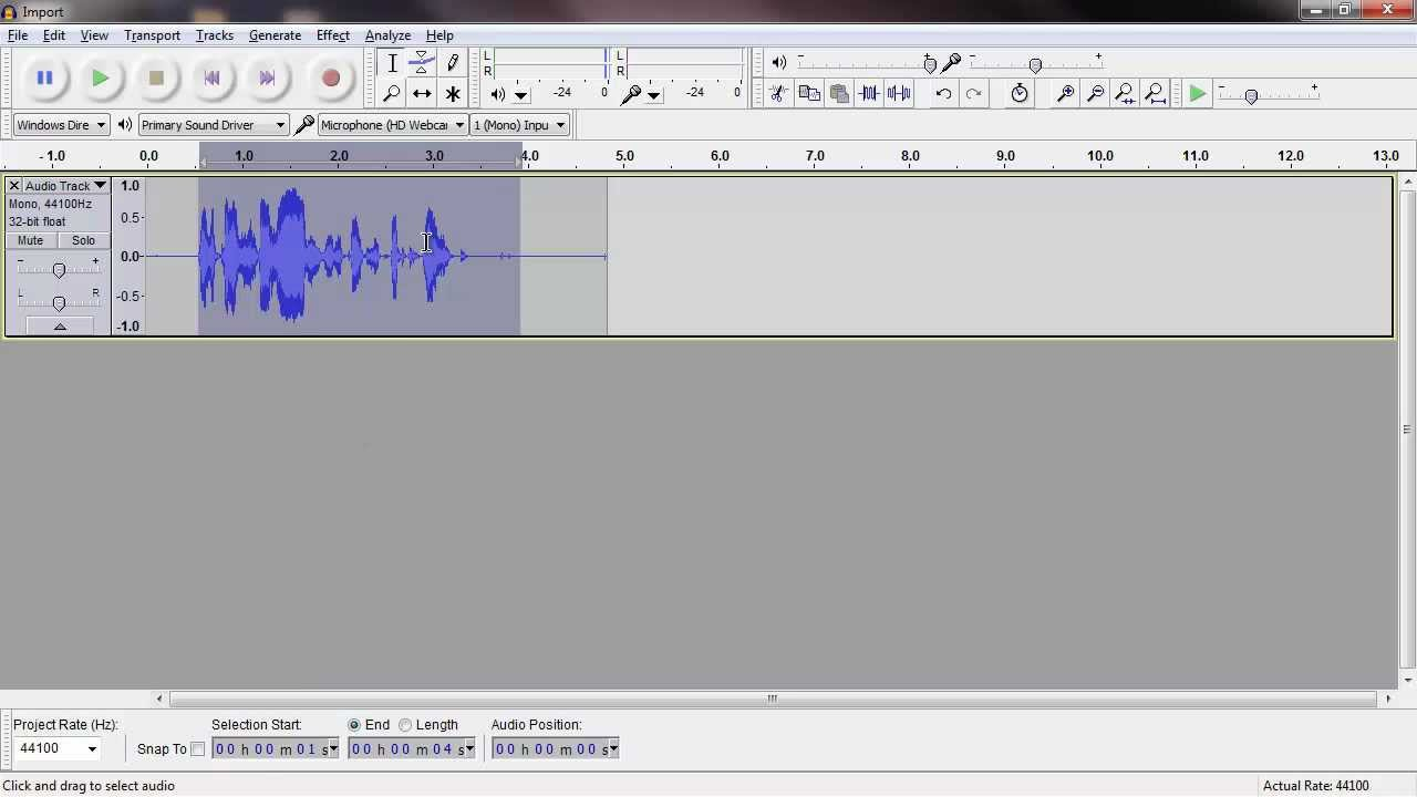 how to add a blank audio track on audacity