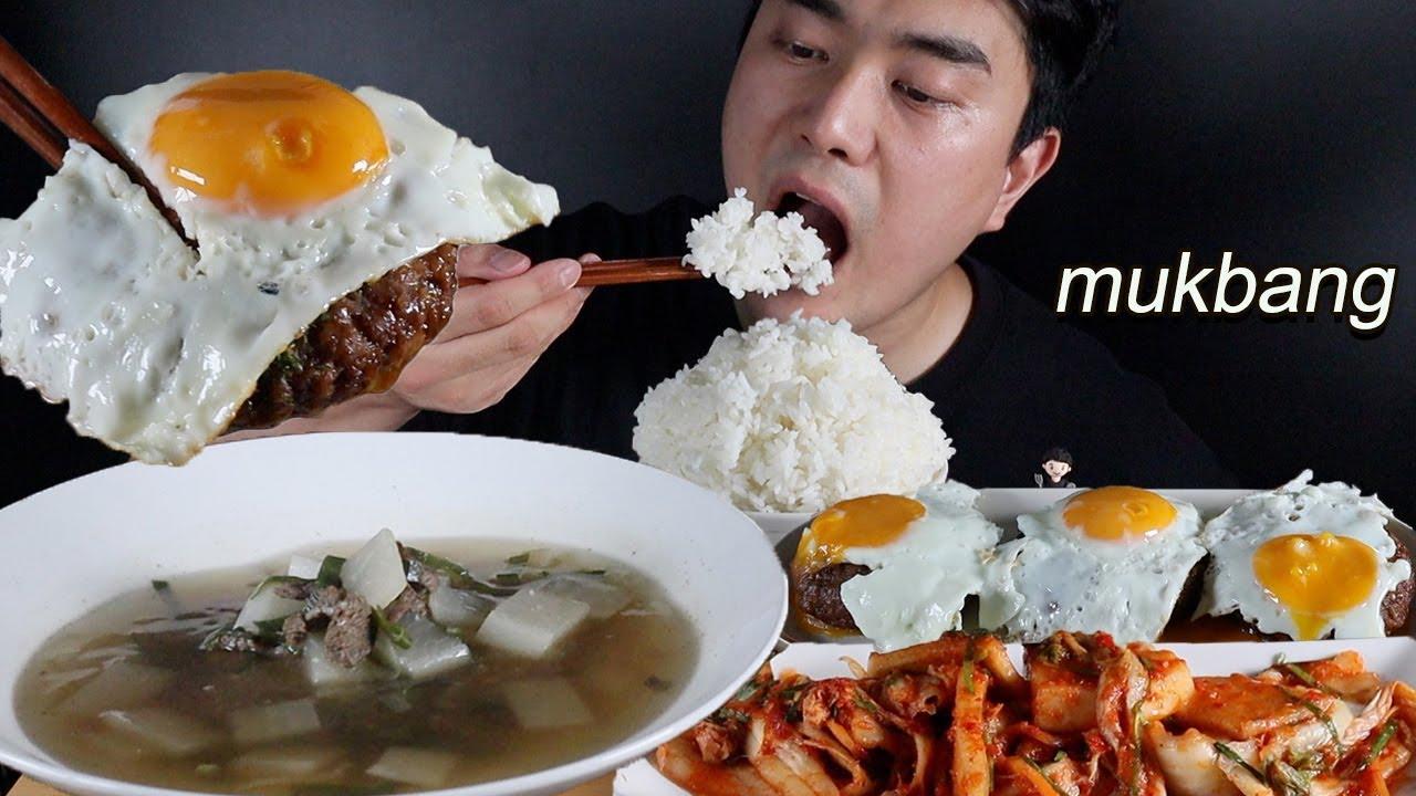 역시 해장은 소고기무국과 떡갈비 김치 한식먹방ASMR MUKBANG beef radish soup & Tteokgalbi & Kimchi KOREAN FOOD EATING SHOW