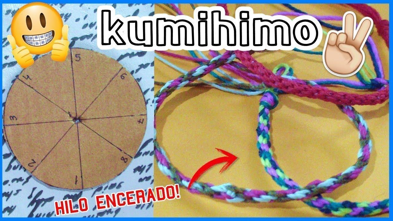 dc7061c6a6b5 Como hacer una pulsera con la técnica Kumihimo /DIY disco de cartón
