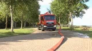 Hytrans high speed hose laying & hose retrieval system, with large diameter hose squeeze ramp