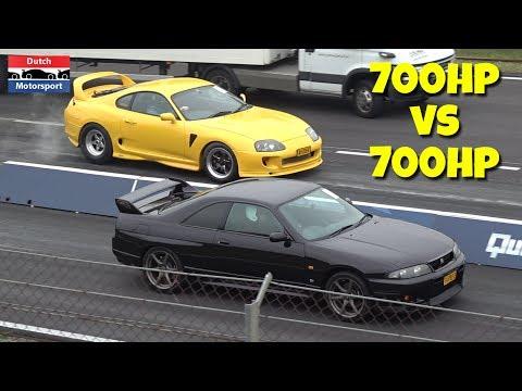 700HP Nissan Skyline vs 700HP Toyota Supra! - BURNOUT & Launch Controls!