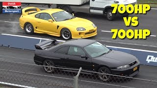 700HP Nissan Skyline vs 700HP Toyota Supra! - BURNOUT & Launch Controls!