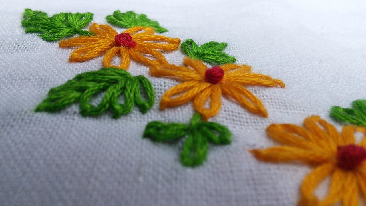 Easy Hand Embroidery Works  Lazy Daisy  Handiworks Tutorials #11  Youtube